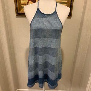 NWT! Billabong Distressed strips halter dress